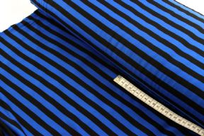 Blue and Black Stripe Jersey Viscose Fabric